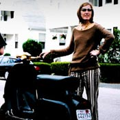 Kim and her scooter